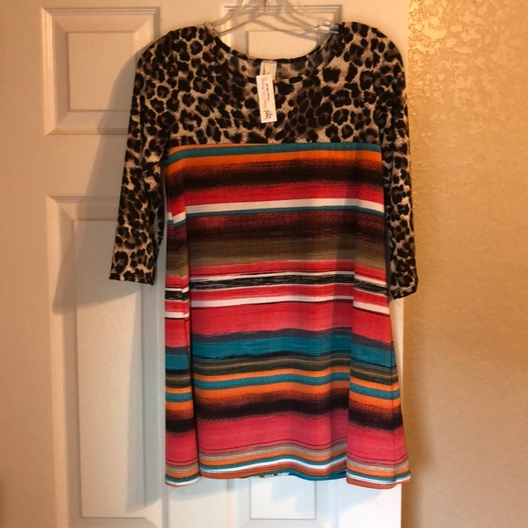 Serape and leopard print faux leather with fringe detail The Rondee